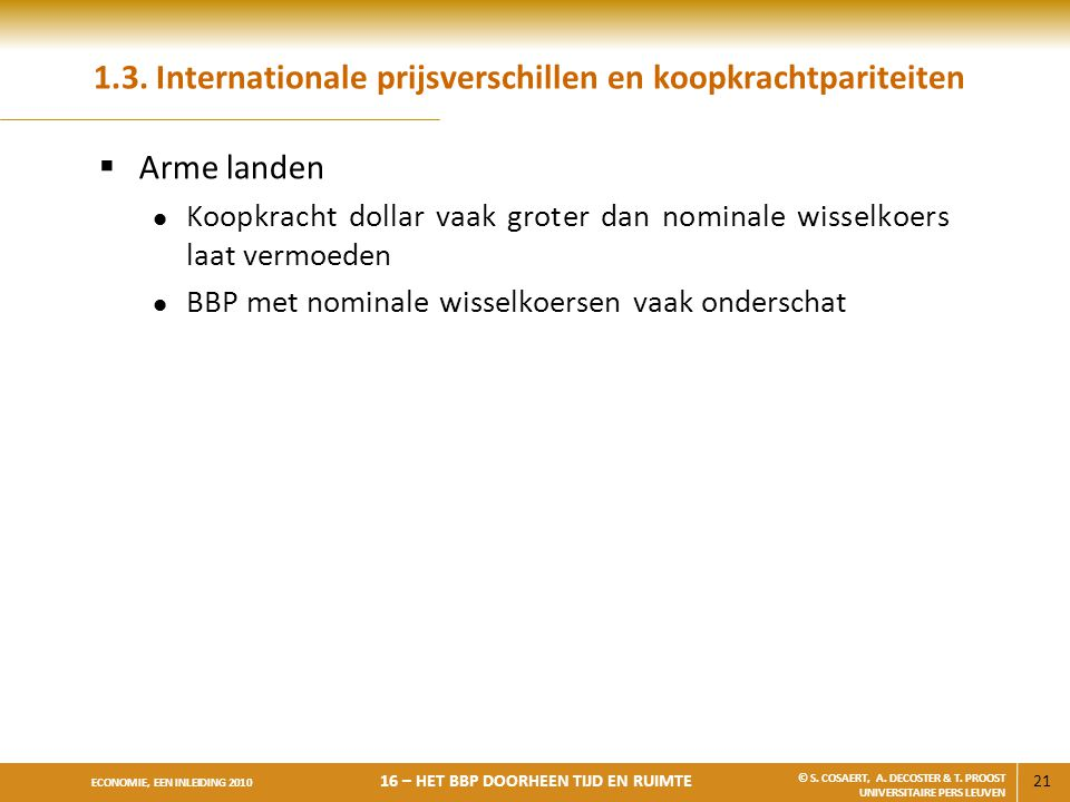1.3. Internationale prijsverschillen en koopkrachtpariteiten