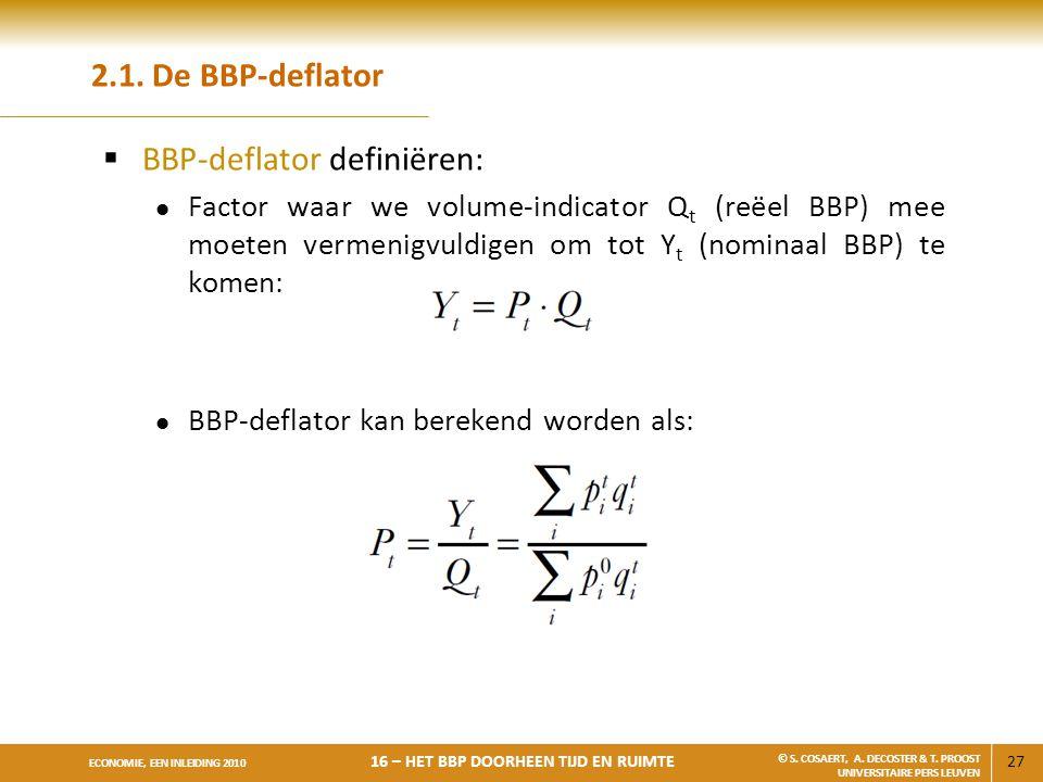 BBP-deflator definiëren: