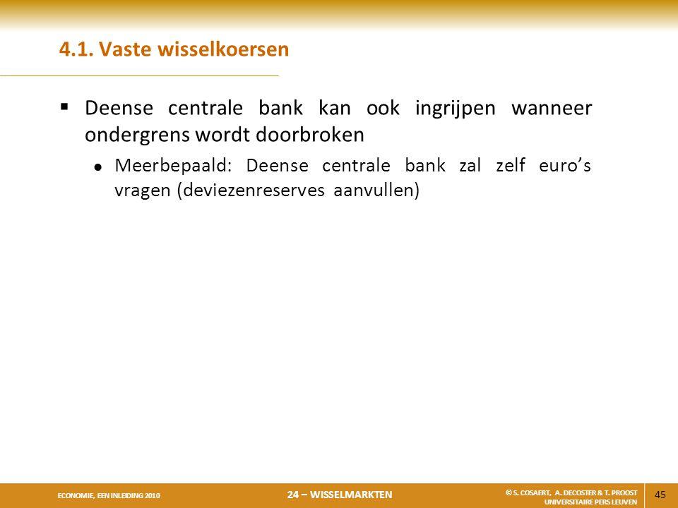 4.1. Vaste wisselkoersen Deense centrale bank kan ook ingrijpen wanneer ondergrens wordt doorbroken.