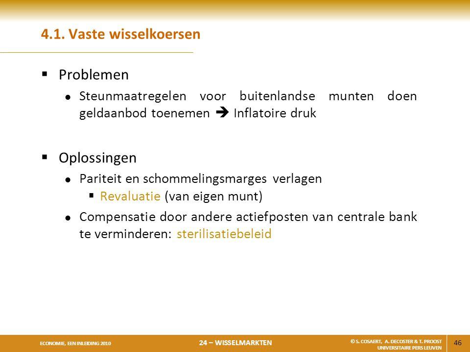 4.1. Vaste wisselkoersen Problemen Oplossingen