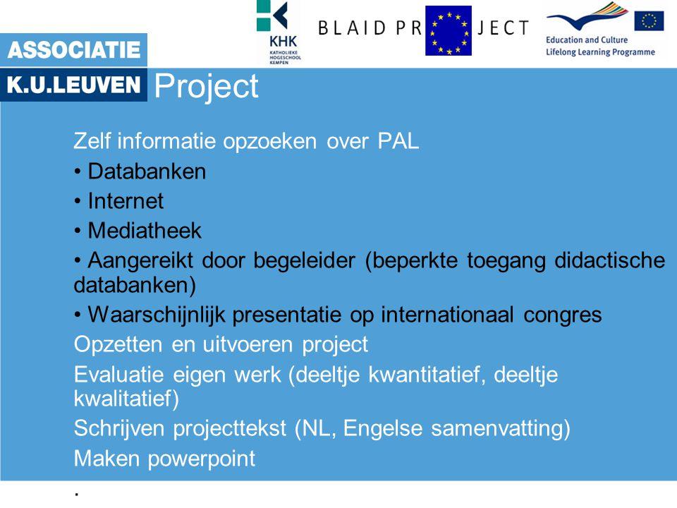 Project Zelf informatie opzoeken over PAL Databanken Internet