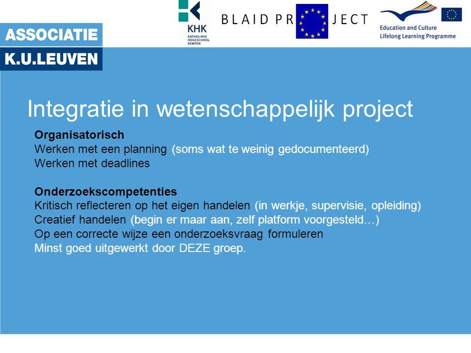 Integratie in wetenschappelijk project