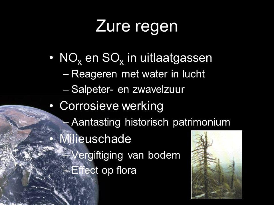 Zure regen NOx en SOx in uitlaatgassen Corrosieve werking Milieuschade