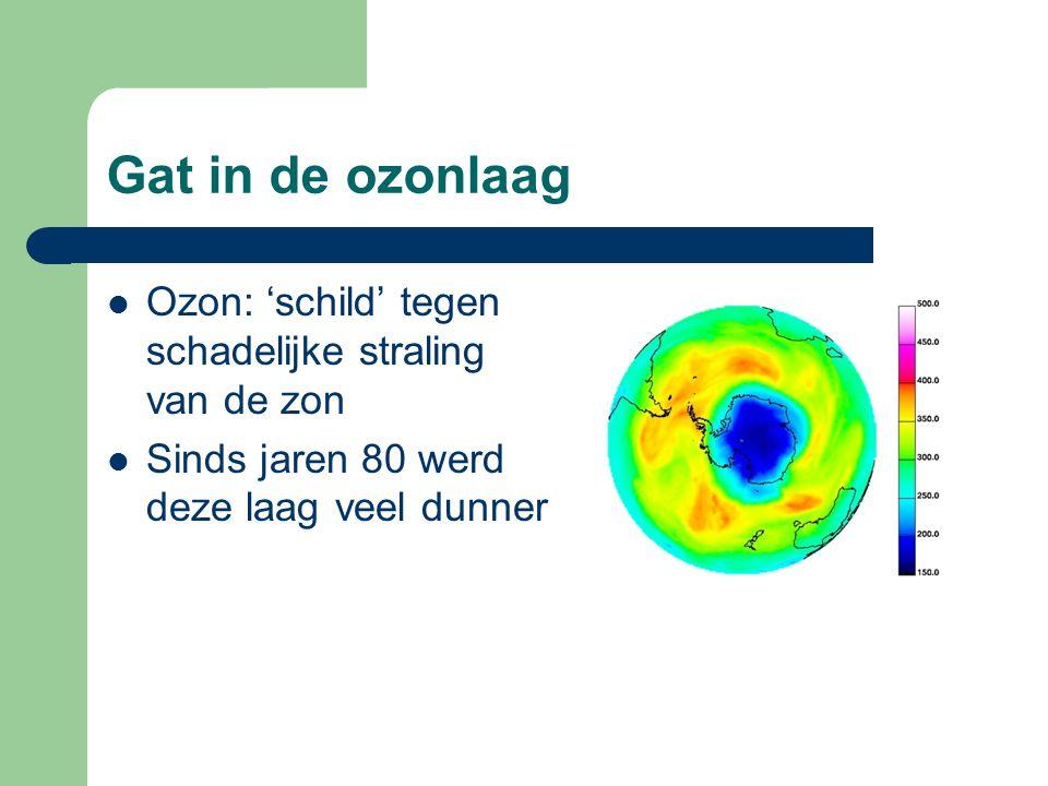 Gat in de ozonlaag Ozon: 'schild' tegen schadelijke straling van de zon.
