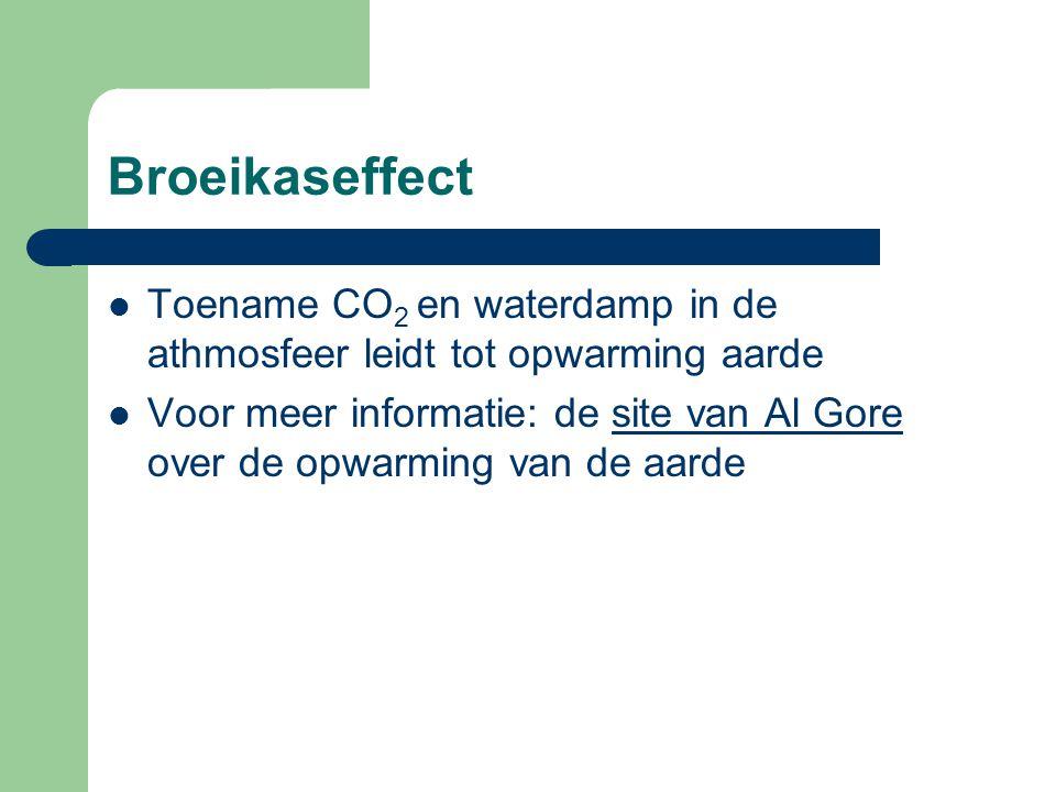 Broeikaseffect Toename CO2 en waterdamp in de athmosfeer leidt tot opwarming aarde.