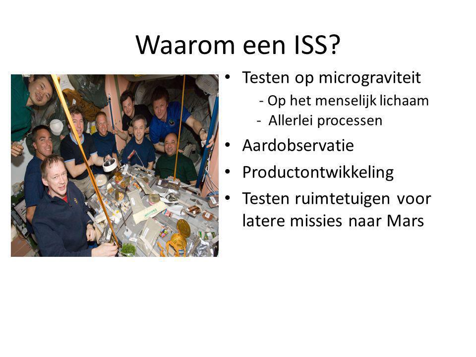 Waarom een ISS Testen op micrograviteit - Op het menselijk lichaam - Allerlei processen. Aardobservatie.