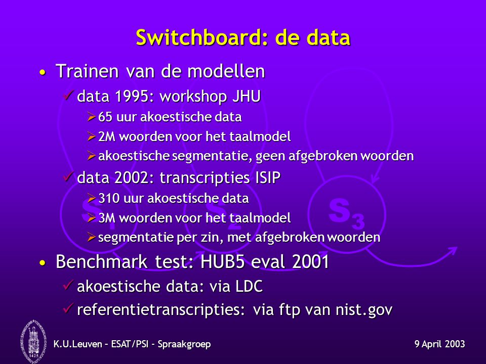 Switchboard: de data Trainen van de modellen