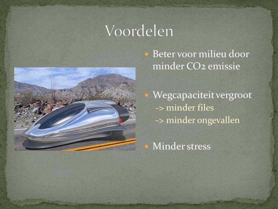 Voordelen Beter voor milieu door minder CO2 emissie