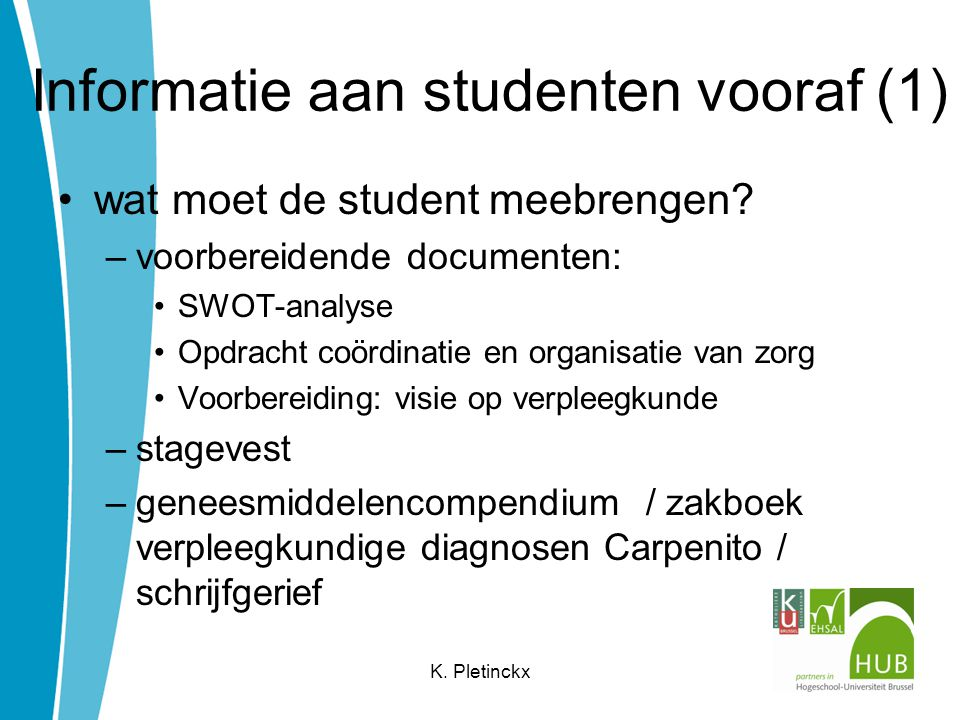 Informatie aan studenten vooraf (1)