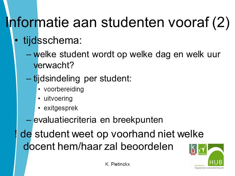 Informatie aan studenten vooraf (2)