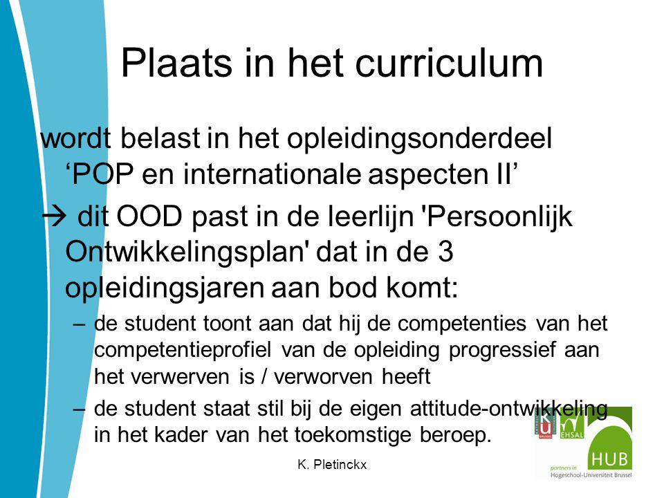 Plaats in het curriculum