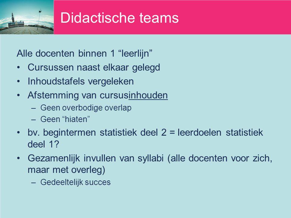 Didactische teams Alle docenten binnen 1 leerlijn