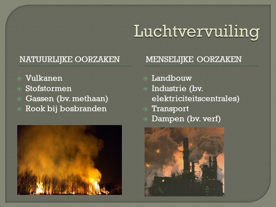 Luchtvervuiling Natuurlijke oorzaken Menselijke oorzaken Vulkanen