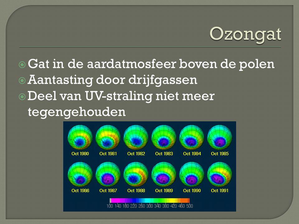 Ozongat Gat in de aardatmosfeer boven de polen
