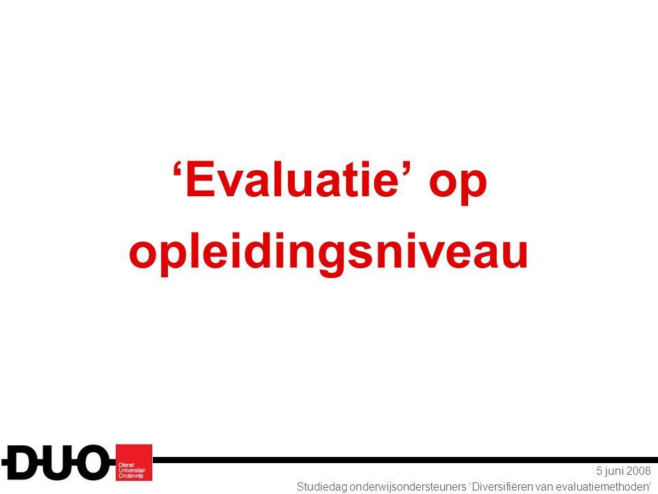 'Evaluatie' op opleidingsniveau