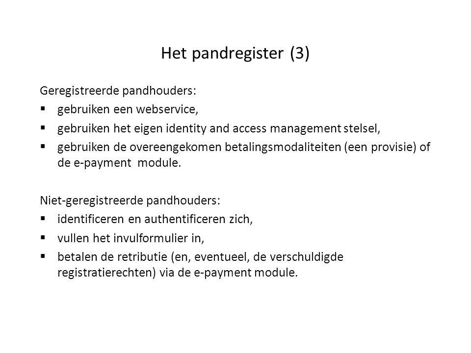 Het pandregister (3) Geregistreerde pandhouders:
