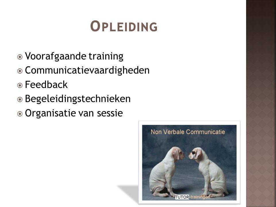 Opleiding Voorafgaande training Communicatievaardigheden Feedback