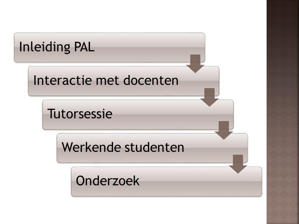 Inleiding PAL Interactie met docenten Tutorsessie Werkende studenten Onderzoek