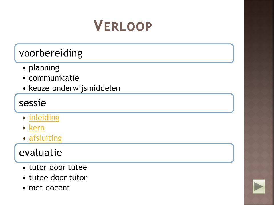 Verloop voorbereiding planning communicatie keuze onderwijsmiddelen