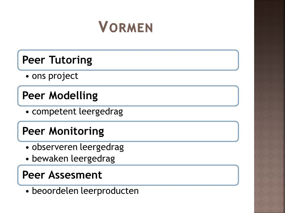 Vormen Peer Tutoring Peer Modelling Peer Monitoring Peer Assesment