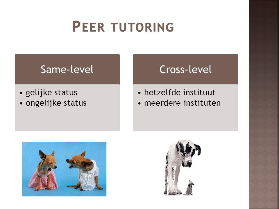 Peer tutoring Same-level Cross-level gelijke status ongelijke status