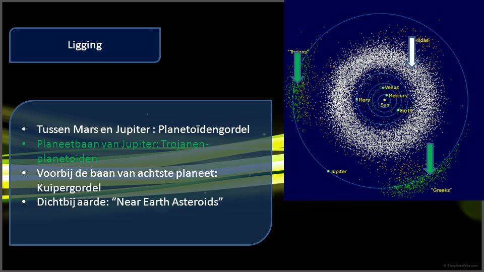 Ligging Tussen Mars en Jupiter : Planetoïdengordel. Planeetbaan van Jupiter: Trojanen-planetoïden.