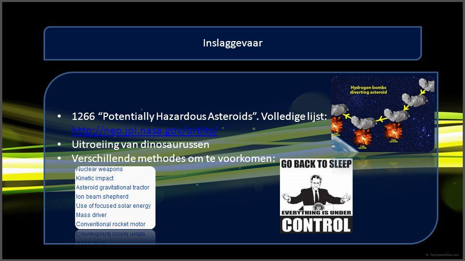 Inslaggevaar 1266 Potentially Hazardous Asteroids . Volledige lijst: http://neo.jpl.nasa.gov/orbits/