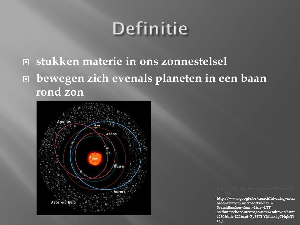 Definitie stukken materie in ons zonnestelsel