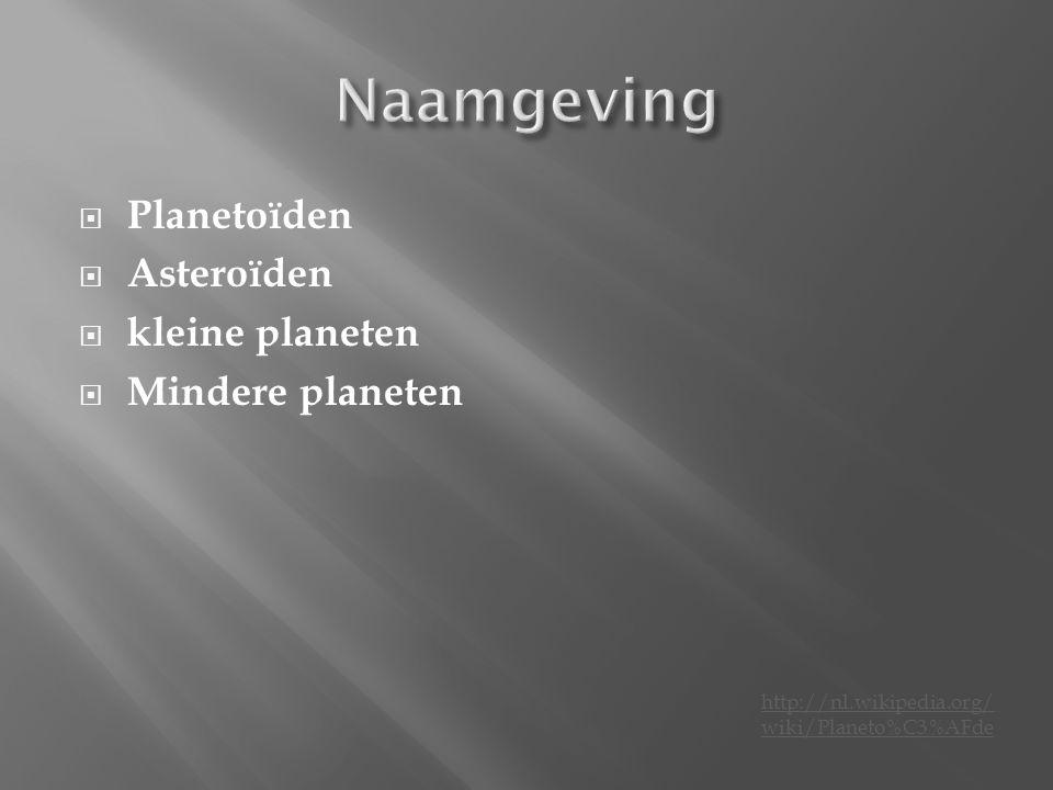 Naamgeving Planetoïden Asteroïden kleine planeten Mindere planeten