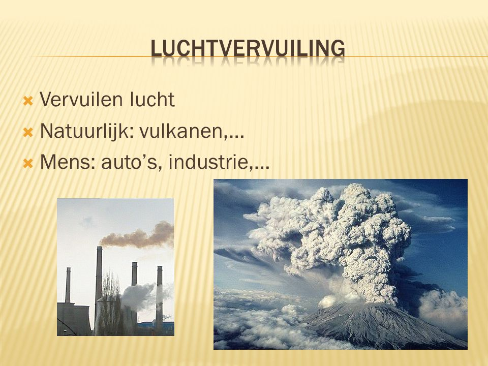 Luchtvervuiling Vervuilen lucht Natuurlijk: vulkanen,…