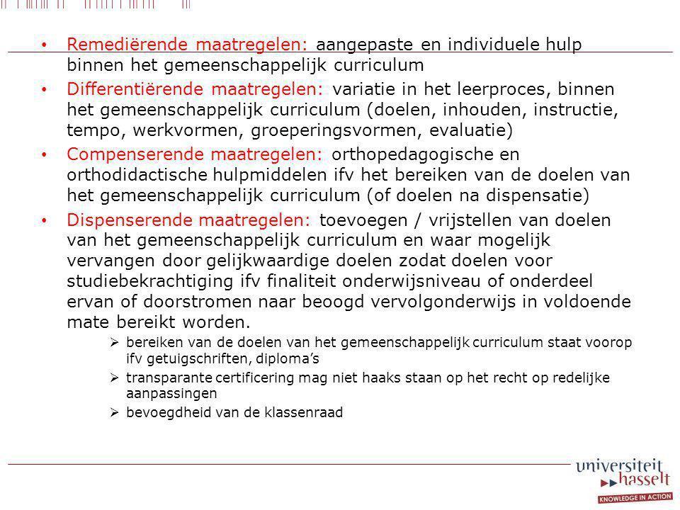 Remediërende maatregelen: aangepaste en individuele hulp binnen het gemeenschappelijk curriculum