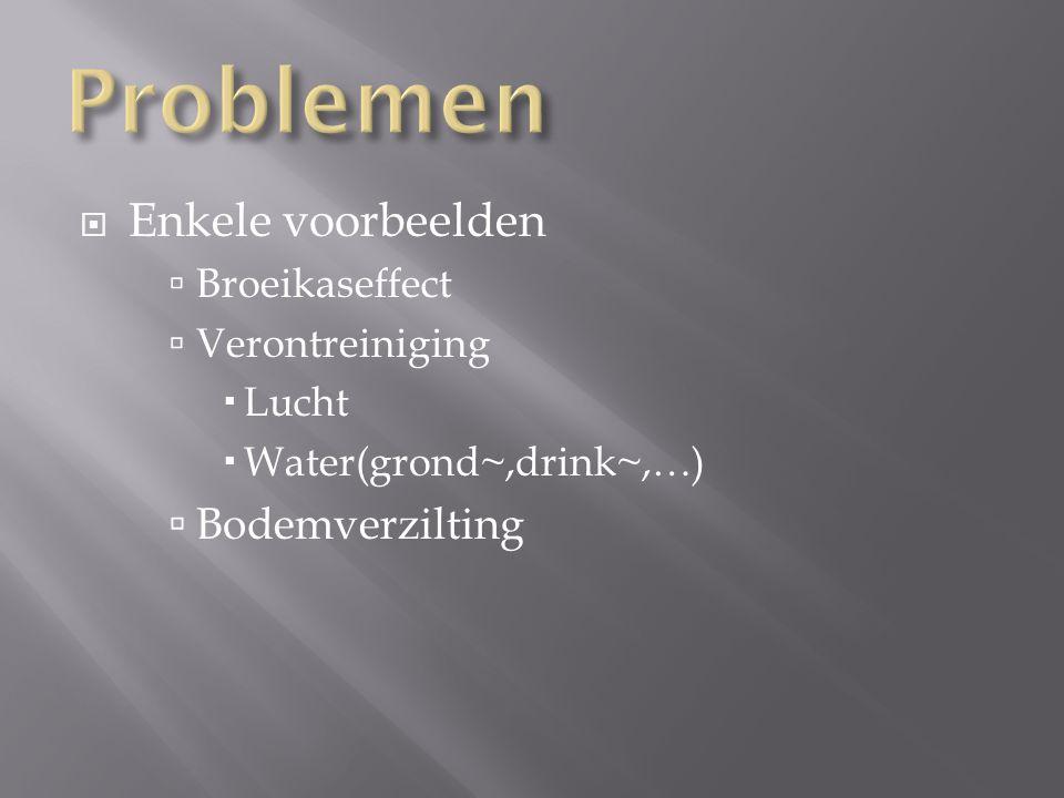 Problemen Enkele voorbeelden Bodemverzilting Broeikaseffect