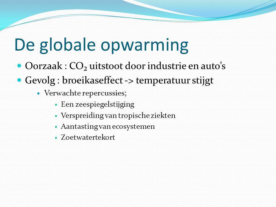 De globale opwarming Oorzaak : CO₂ uitstoot door industrie en auto's
