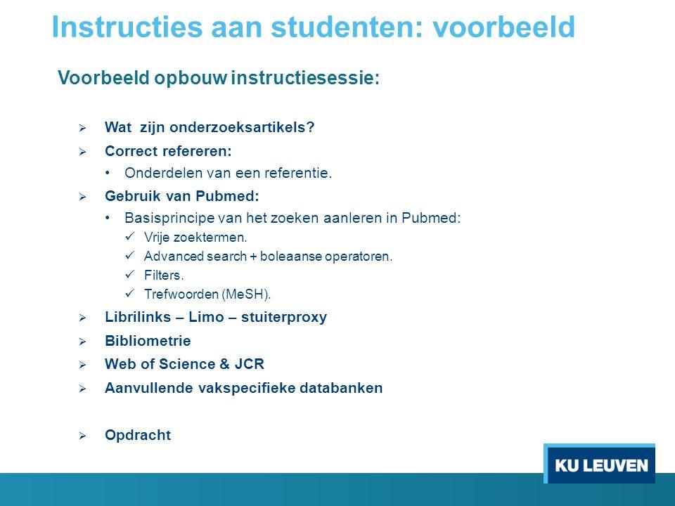 Instructies aan studenten: voorbeeld