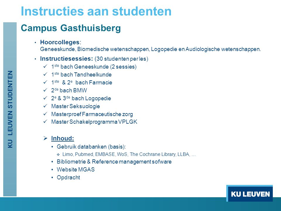 Instructies aan studenten