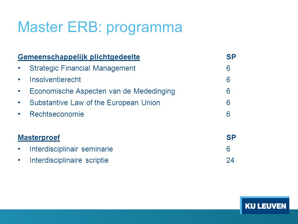 Master ERB: programma Gemeenschappelijk plichtgedeelte SP