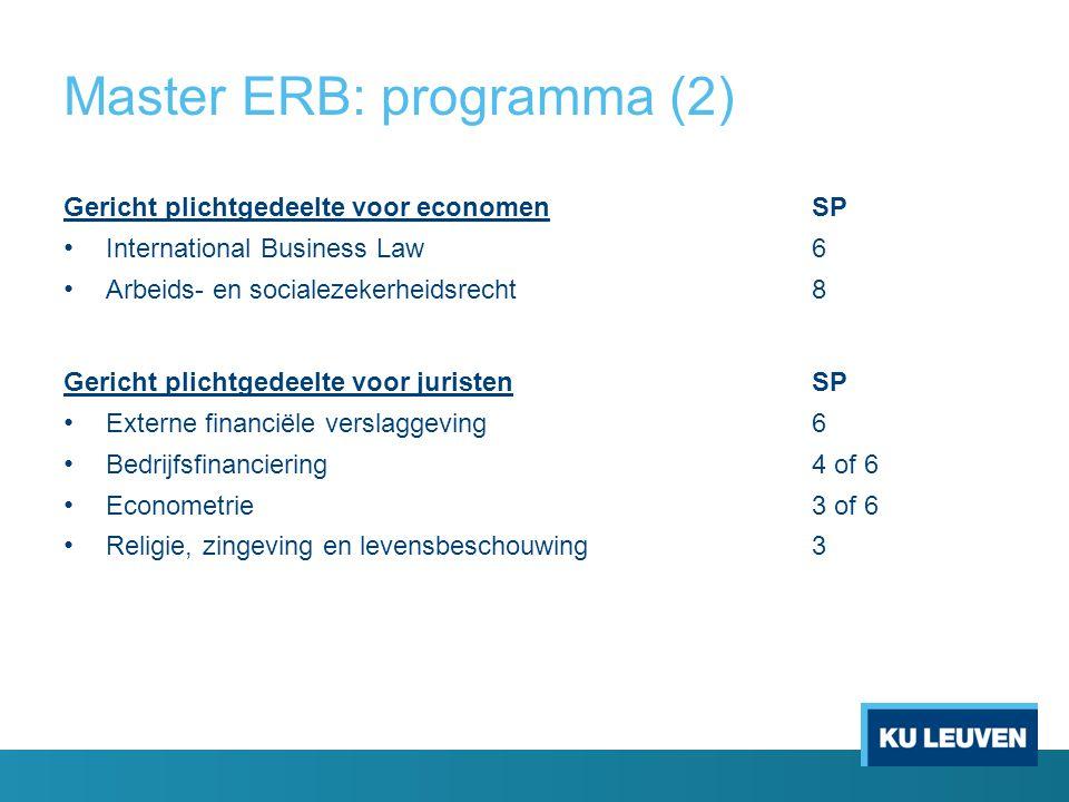 Master ERB: programma (2)