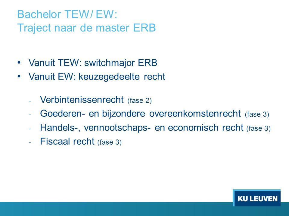 Bachelor TEW/ EW: Traject naar de master ERB