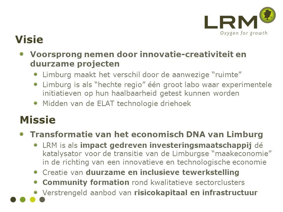 Visie Voorsprong nemen door innovatie-creativiteit en duurzame projecten. Limburg maakt het verschil door de aanwezige ruimte
