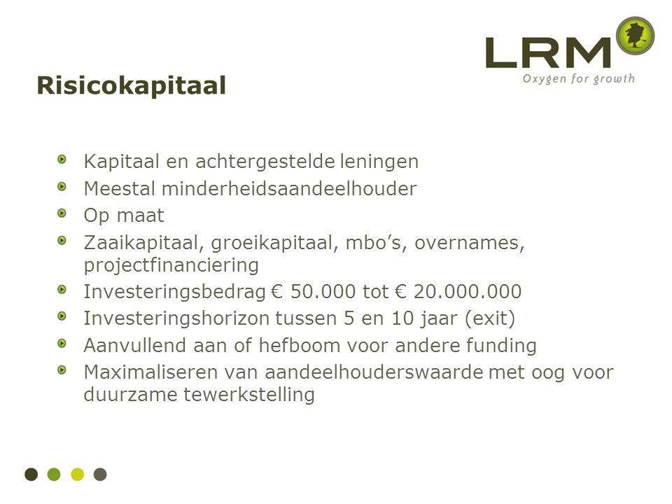 Risicokapitaal Kapitaal en achtergestelde leningen