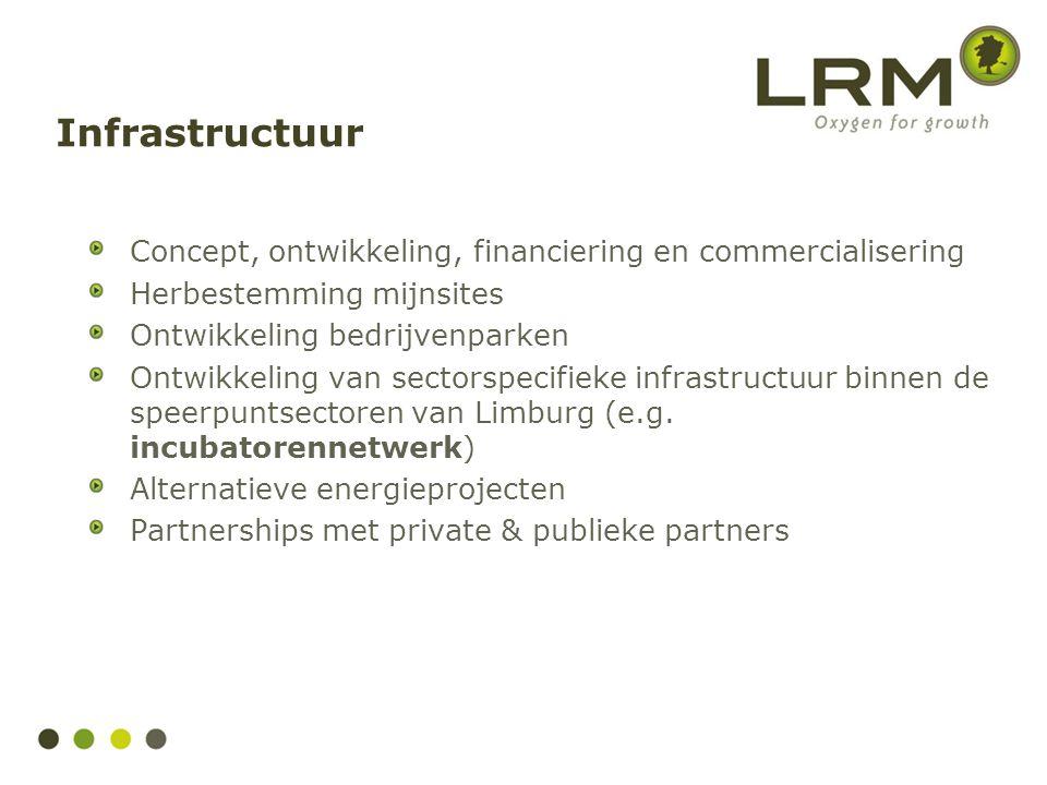 Infrastructuur Concept, ontwikkeling, financiering en commercialisering. Herbestemming mijnsites. Ontwikkeling bedrijvenparken.