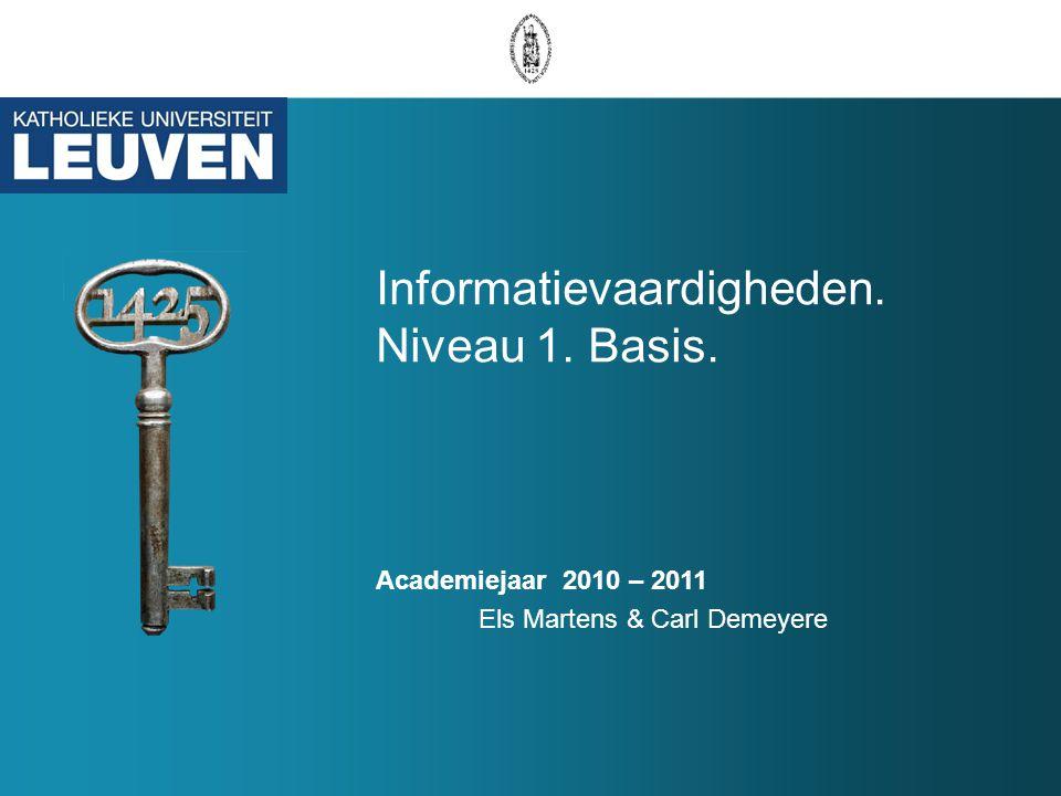 Informatievaardigheden. Niveau 1. Basis.