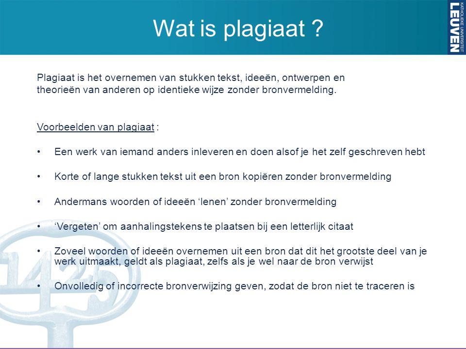 Wat is plagiaat Plagiaat is het overnemen van stukken tekst, ideeën, ontwerpen en. theorieën van anderen op identieke wijze zonder bronvermelding.