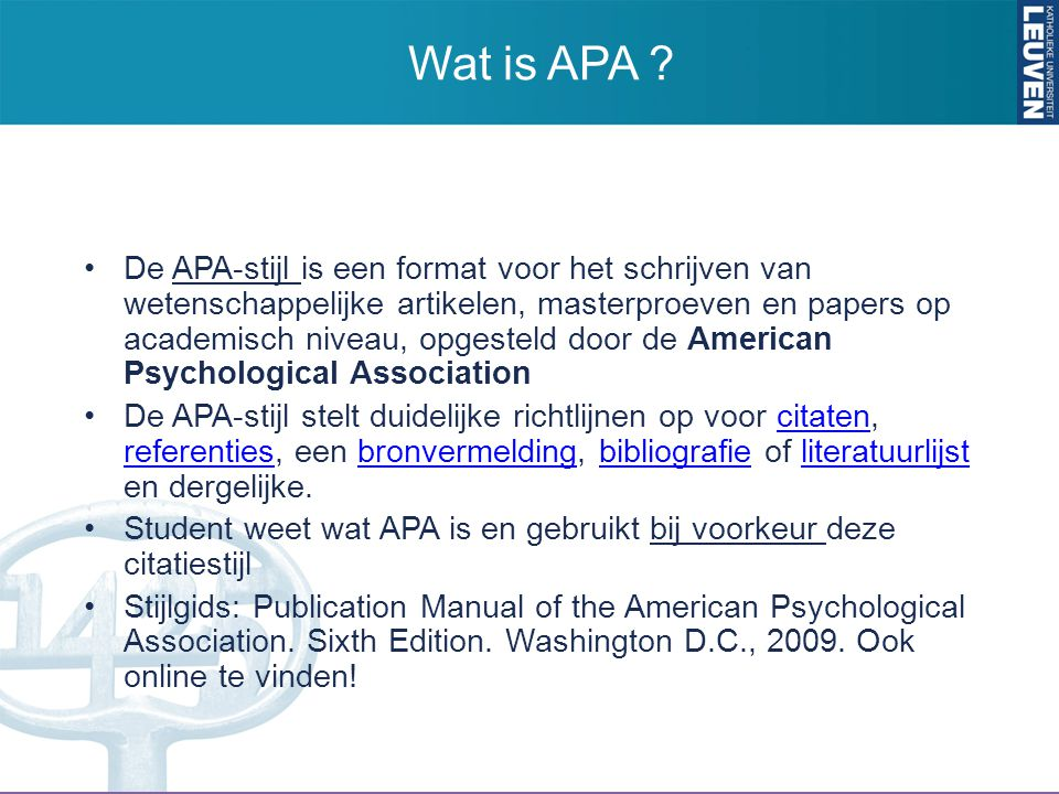 Wat is APA