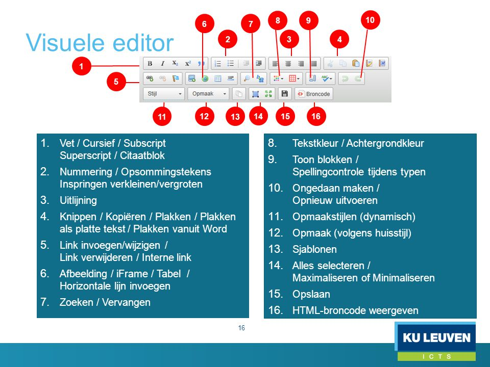 Visuele editor Vet / Cursief / Subscript Superscript / Citaatblok