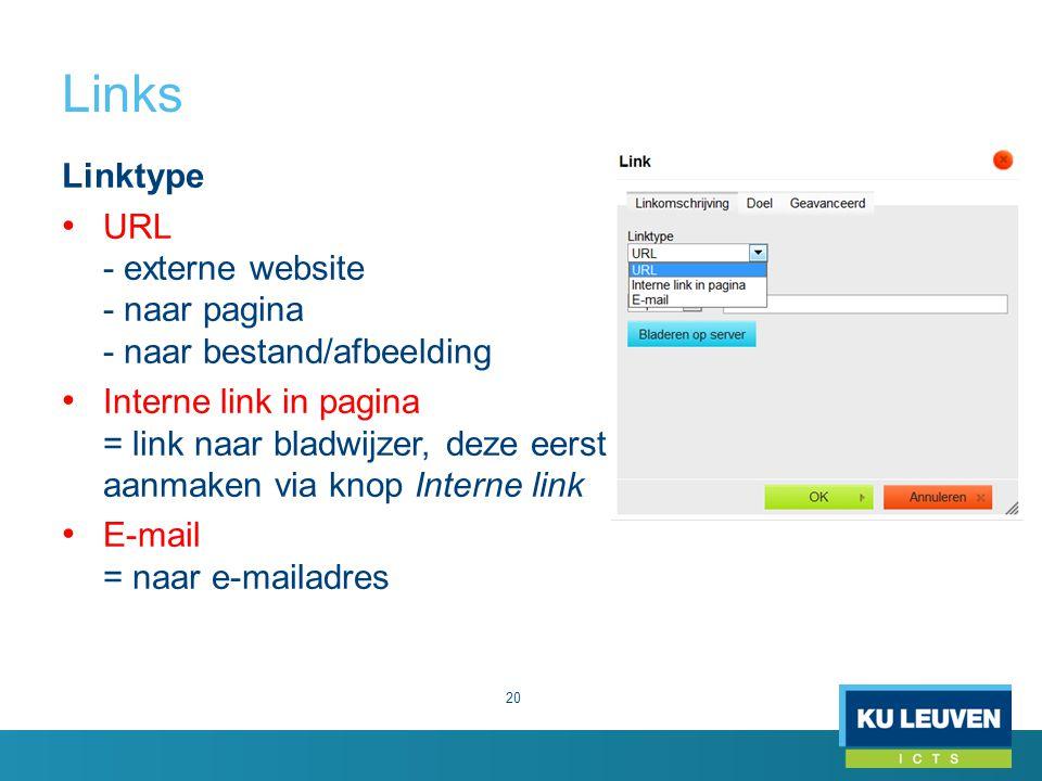 Links Linktype. URL - externe website - naar pagina - naar bestand/afbeelding.