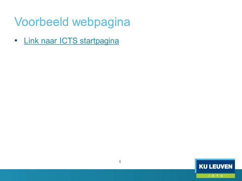 Voorbeeld webpagina Link naar ICTS startpagina