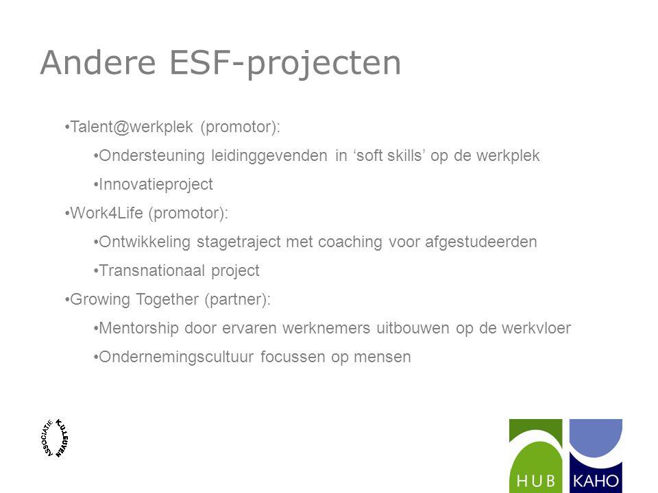 Andere ESF-projecten Talent@werkplek (promotor):