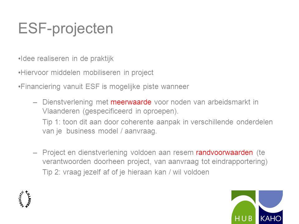 ESF-projecten Idee realiseren in de praktijk