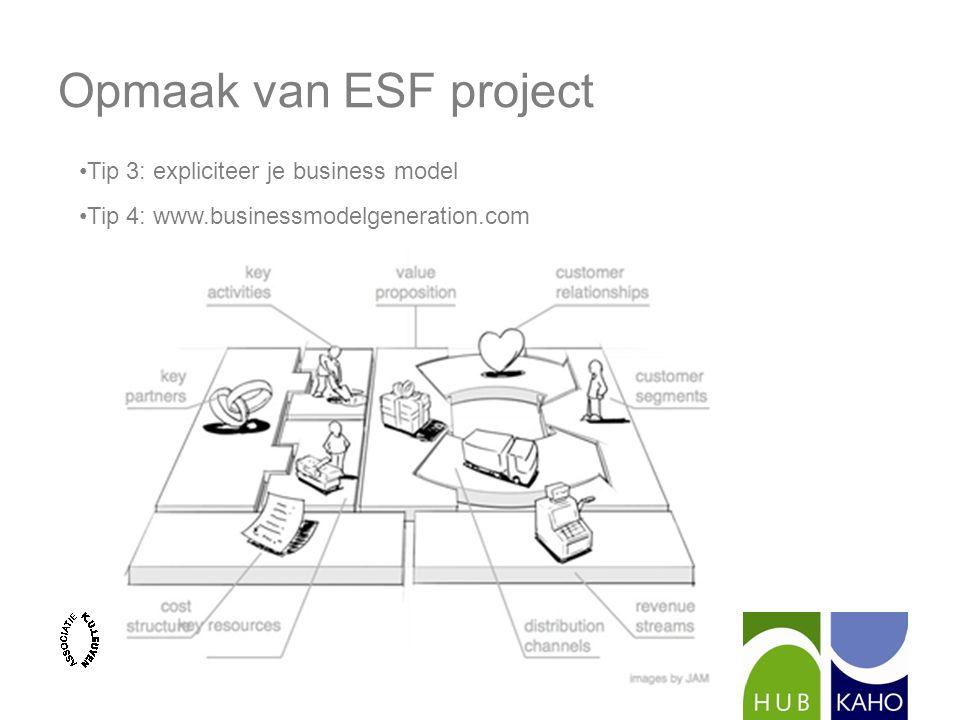 Opmaak van ESF project Tip 3: expliciteer je business model